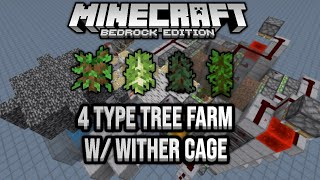 Fast 4 Type Tree Farm With Wither Cage Minecraft Bedrock Tutorial 1.16