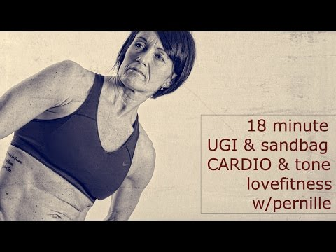 18 minute sandbag UGI swiss cardio & tight booty toned upper body workout lovefitness w/pernille