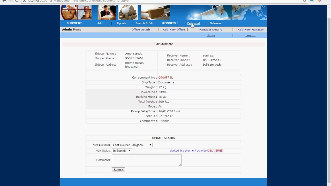 Courier Management System Project in PHP