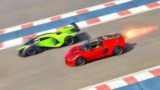 ROCKET CAR Vs PROTO ¿CUAL ES MAS RAPIDO? GTA 5 TEST (GRAND THEFT AUTO V PC MODS Dutygameplays)