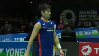 yonex all england open 2016   badminton r16 m2 ms   lin dan vs sho sasaki