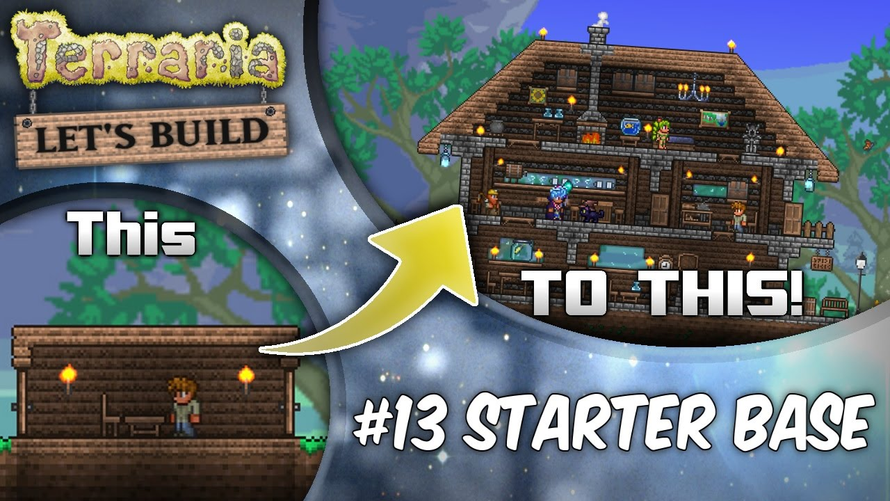 Terraria lets build part 13 starter houses base tutorial survive your first night