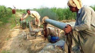 Peter Diesel Engine start up village life agriculture system in rural area of Punjab