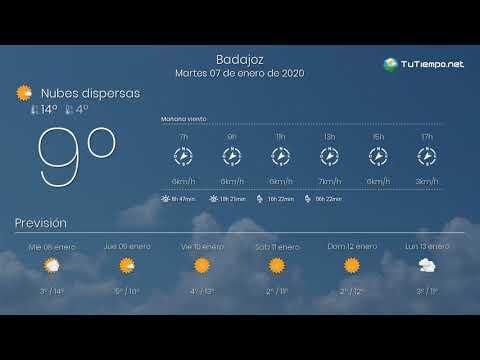 El tiempo en Badajoz. Martes 07 de enero de 2020.