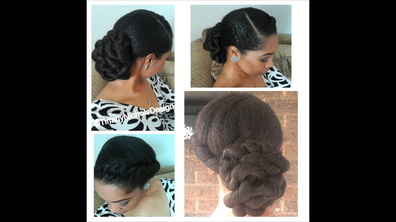 Natural Hair Style Elegant Twisted Bun YouTube