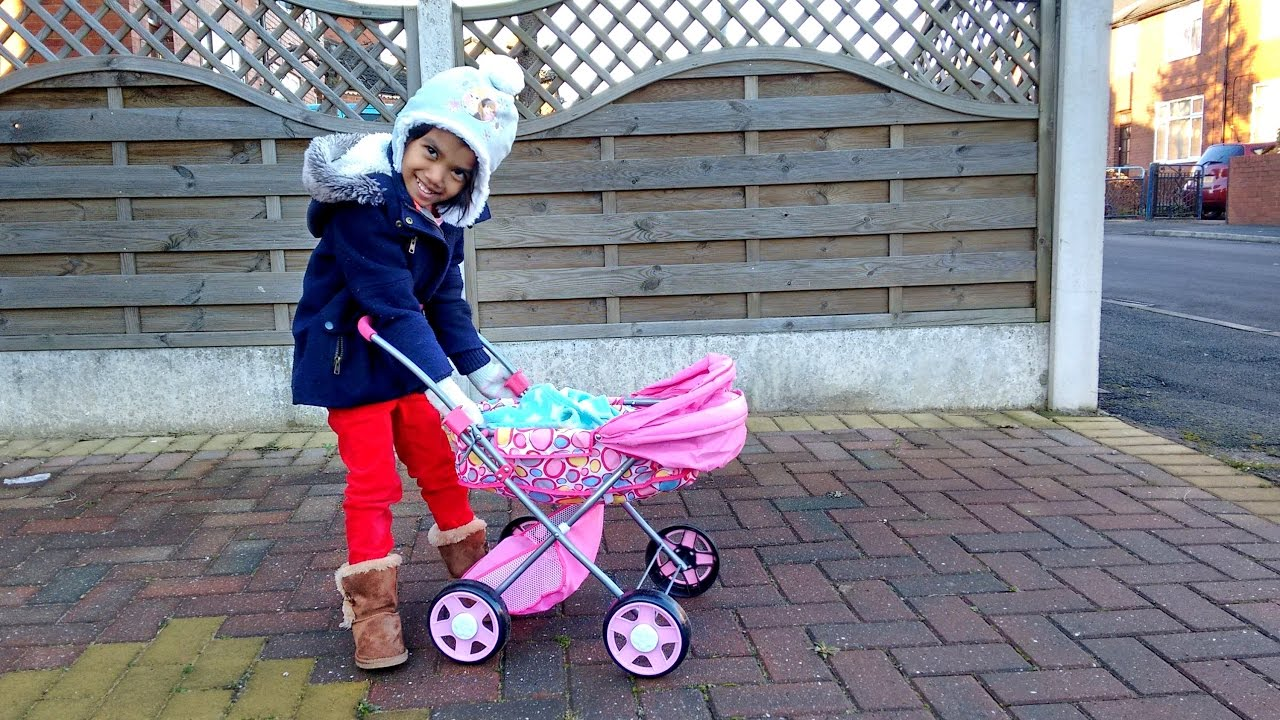 Baby Pushing Pram Youtube Little Girl Pushing Baby In Pink Stroller Having Fun With Baby Doll Mary Had A Little Lamb
