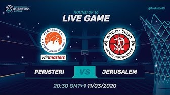 LIVE 🔴 - Peristeri winmasters v Hapoel Jerusalem - RD of 16 - Basketball Champions League 2019-20