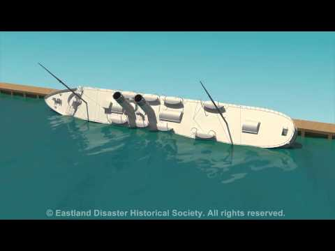 Eastland Disaster animation of ship rolling into the Chicago River (showing port side)