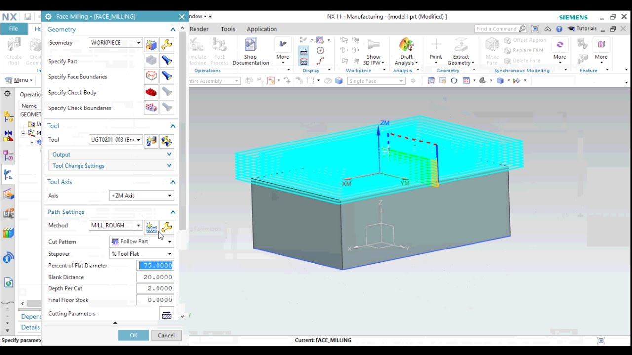 NX11 MANUFACTURING TUTORIAL FOR BEGINNERS: PLANER MILLING