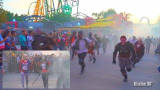[4K] Monsters Escaping at Fright Fest 2017 with Suicide Squad - Six Flags Magic Mountains