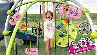 LOL Surprise UNDER WRAPS Scavenger Hunt For LOL Dolls At The Outdoor Playground PARK with Kids!