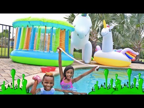 Making Slime In A Swimming Pool