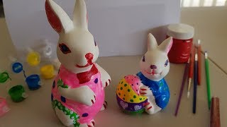 Easter bunny with egg painting 4 kids/learn colors from painting 4 children/easter bunny unboxing 2