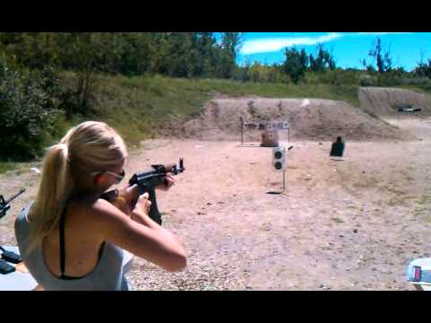 Hot Chick Fires AK-47