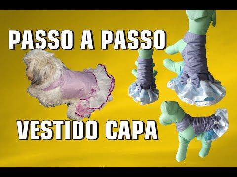 PASSO A PASSO VESTIDO MODELO CAPINHA PARA CACHORRO