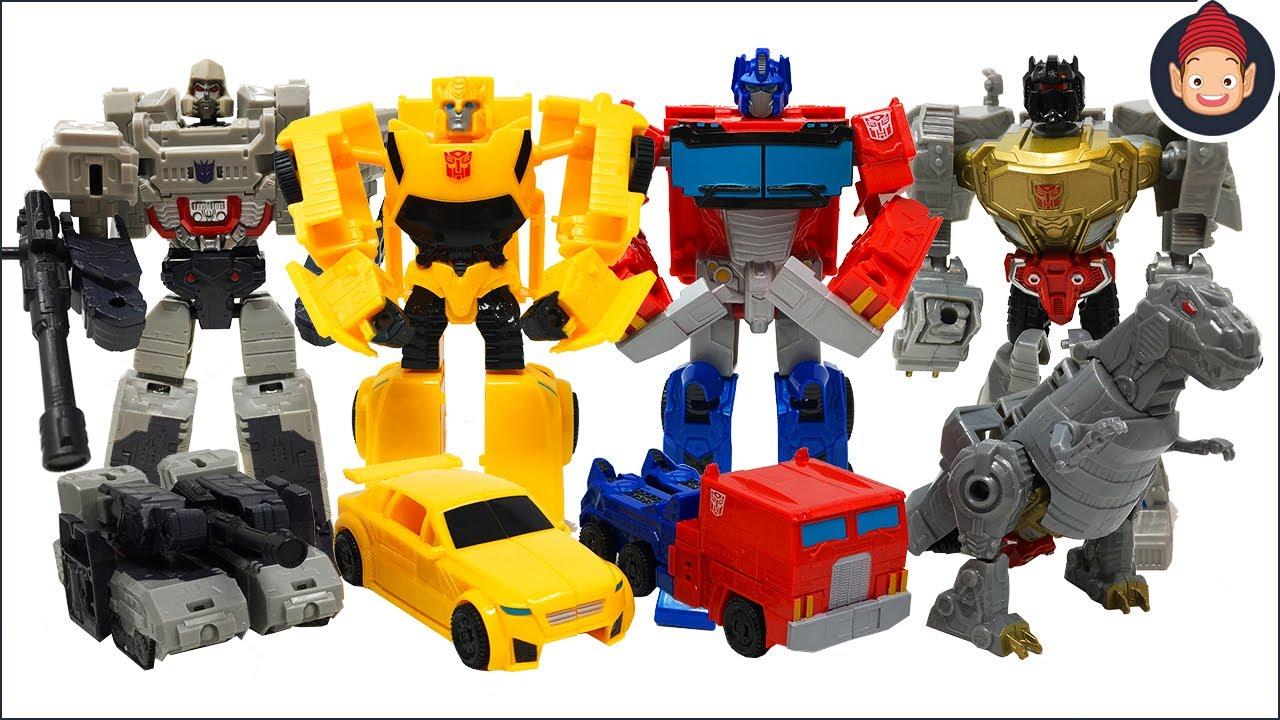 Transformers Toys Optimus Prime Bumblebee Megatron Dinobot Grimlock Toy Unboxing Youtube