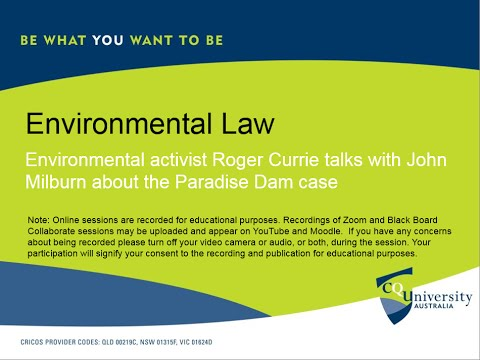 Environmental activist Roger Currie speaks with lawyer John Milburn about the Paradise Dam case.