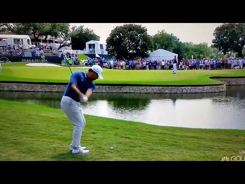 Si Woo Kim puts two balls in the water... and a club!