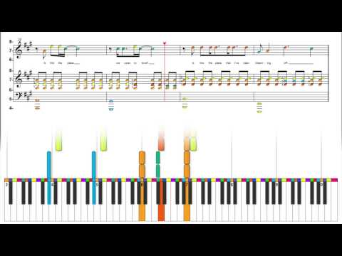 Keane -Somewhere Only We Know - Color Wheel Sheet Music Reading Animation - Piano Keyboard