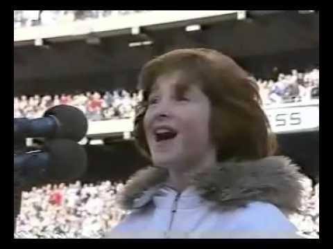 Marissa O'Donnell sings the national anthem at Giants Stadium