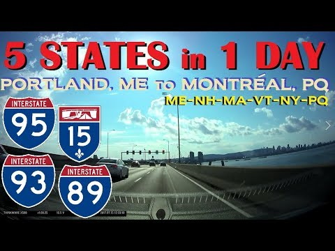 Time Lapse: Portland, Maine through 5 States to Montréal, Québec