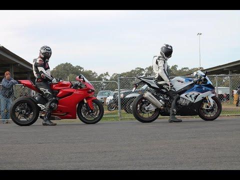 Ducati 1199 Vs Riding With Tom's BMW S1000rr Vs Hayabusa Vs Harley Vs 848 Drag Racing