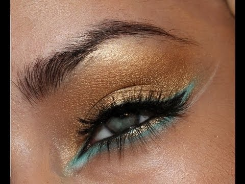 Arabic Gold and Turquoise Eye Makeup - YouTube