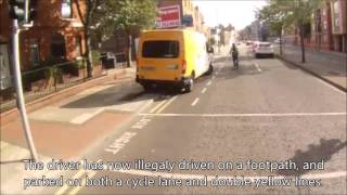 An Post driver swerves into cycle lane and parks on double yellows.