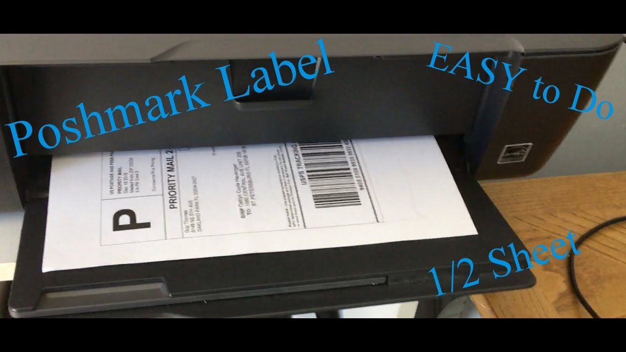 How to Print POSHMARK Shipping Label on a 1/2 sheet Sticker Label