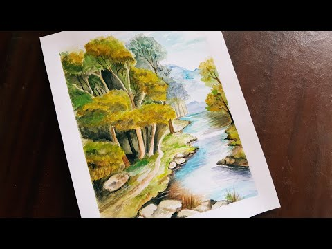 How To Paint Watercolor Landscape | Painting Tutorial | Step By Step