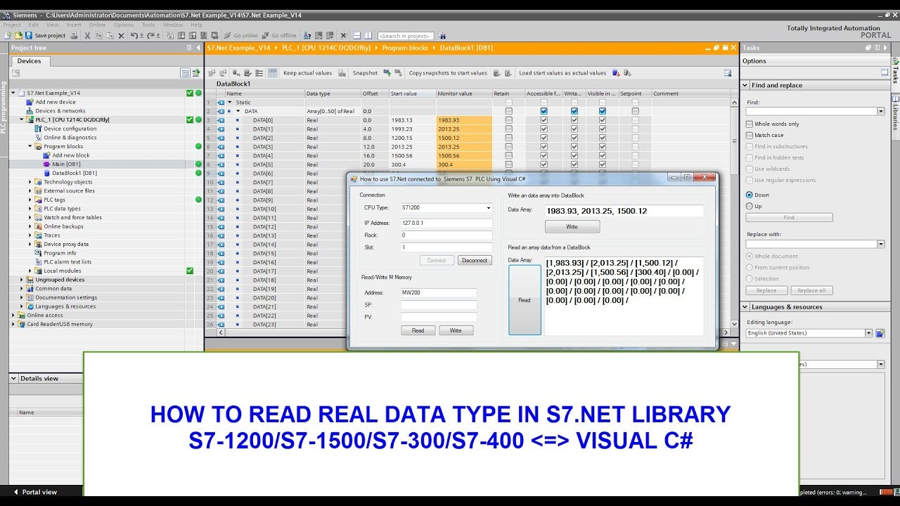 HOW TO READ REAL DATA TYPE IN S7 NET LIBRARY(S7-1200/S7-1500 WITH VISUAL C#)