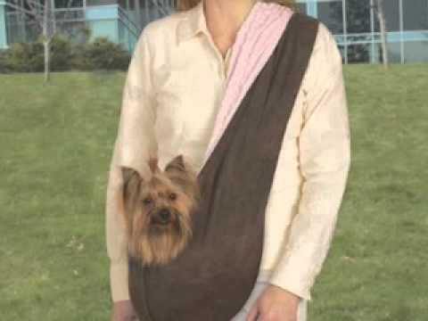Designer Dog Carrier Reversible Sling Pet Carrier Pink Brown