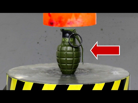 EXPERIMENT Glowing 1000 degree HYDRAULIC PRESS 100 TON vs BOMB (Lighter)