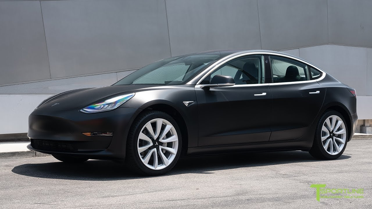 Black Tesla Model 3 Customized with Satin Black Wrap and Digital License  Plate
