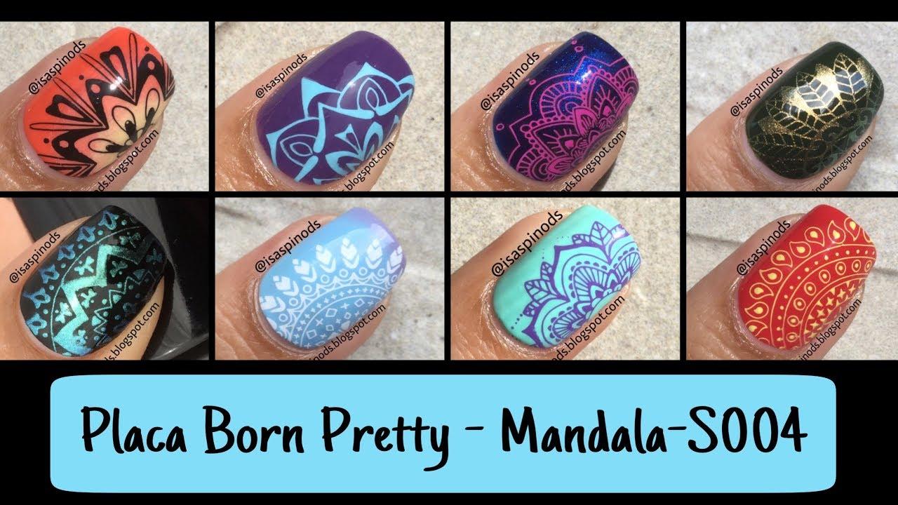 8 Decoraciones De Uñas Usando La Placa Born Pretty Mandala S004 Sellos De Uñas