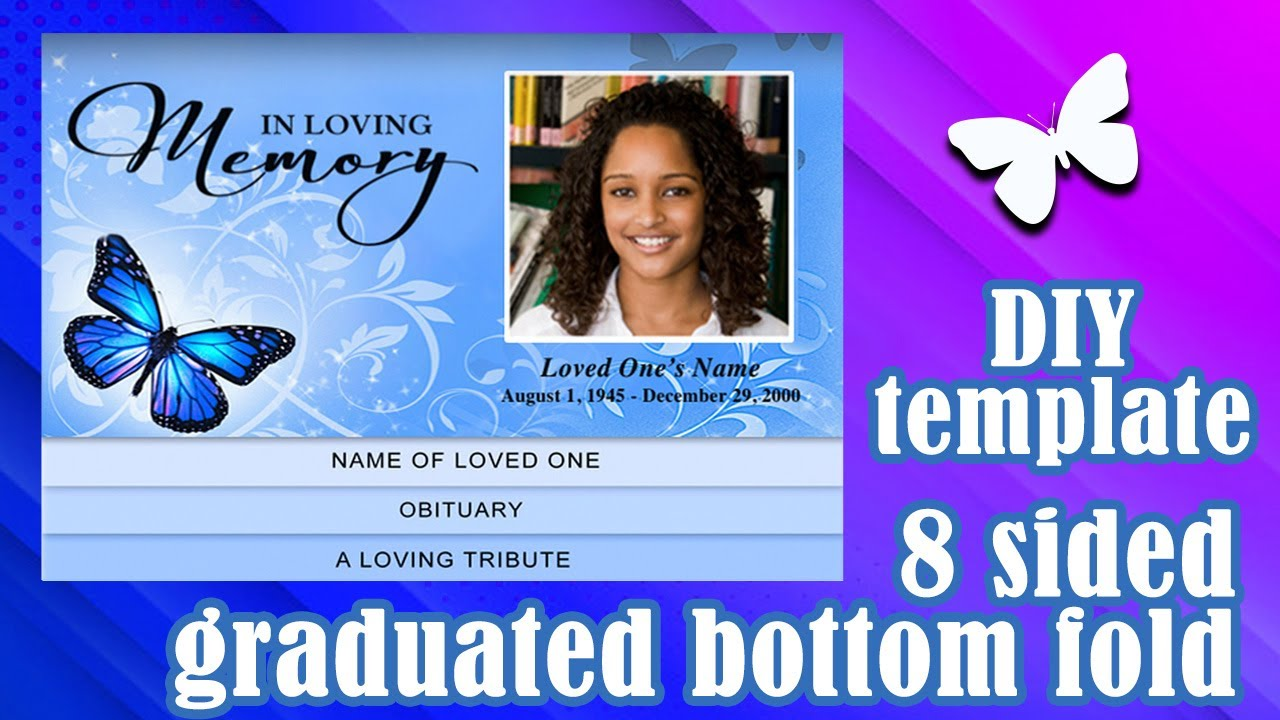 Graduated Bottom Fold Templates   YouTube  Free Printable Obituary Program Template