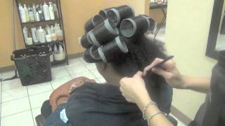 Roller Set on Natural Hair and Dominican Blow Out (@lucys_salon)