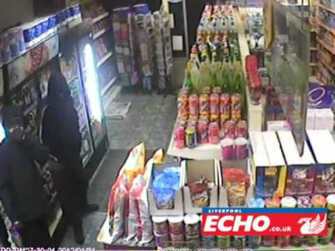 Shocking CCTV footage as shotgun thug kneecaps victim in Bootle shop
