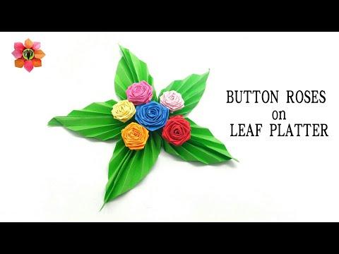 Button Roses on a Leaf Platter - DIY Tutorial - 6
