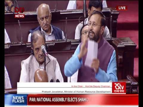 HRD Minister Prakash Javadekar speaks on the Right to Education in Rajya Sabha