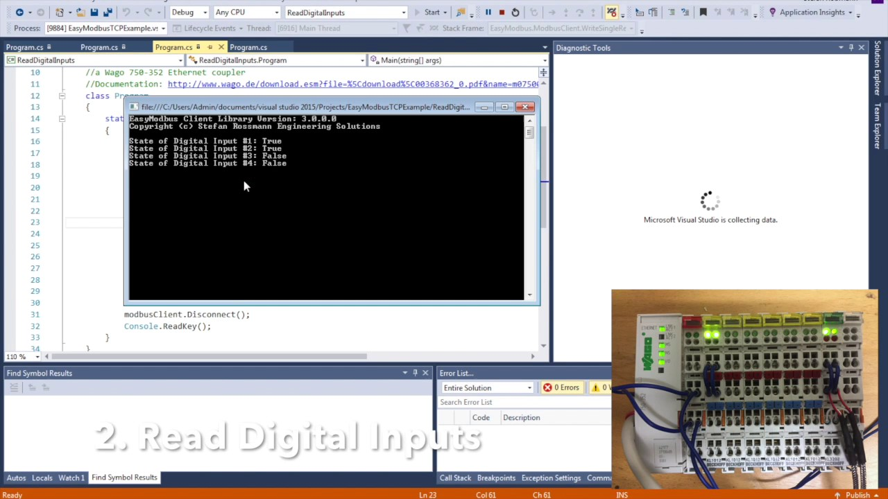 EasyModbusTCP  NET Example with Wago 750-352