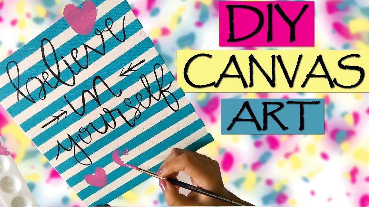 Diy Room Decor Gift Ideas Canvas Wall Art Super Easy Painting Youtube