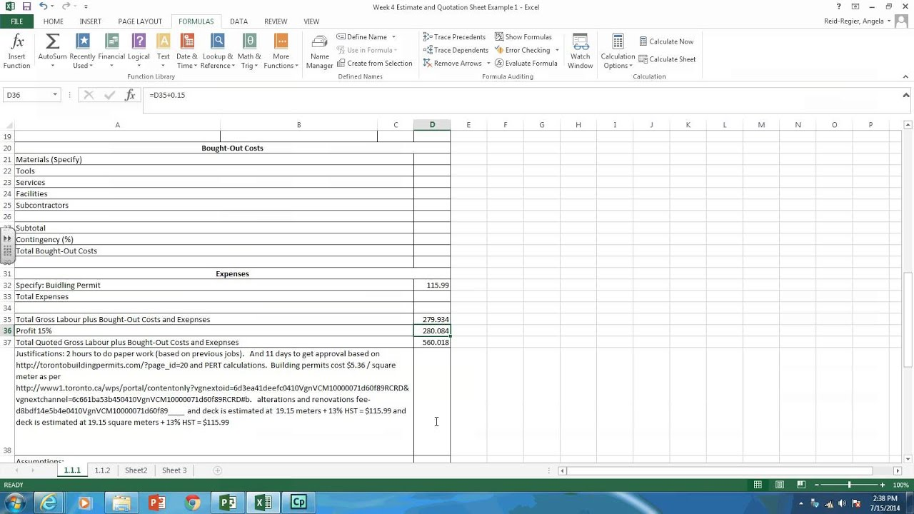 How To Make A Quote Simple Creating Estimate And Quotation Sheets In Excel  Youtube