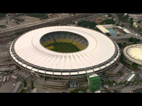Aerial tilt shot of Maracanã Soccer Stadium - Rio de Janeiro, Brazil.