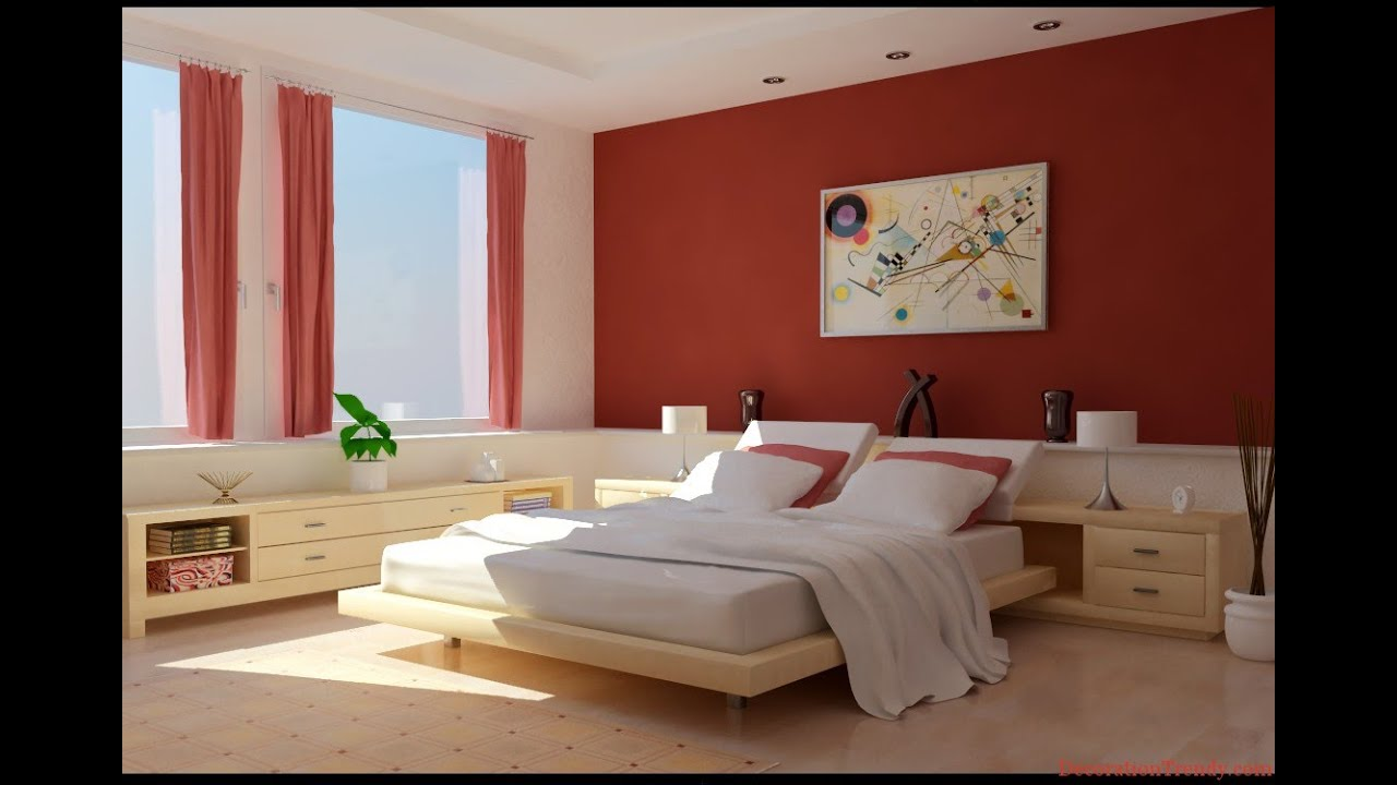 Red Colour Wall: Bedroom Paint Ideas