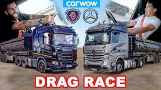 Download Mercedes Actros vs Scania R500 - DRAG RACE *Truk 44 Ton!*
