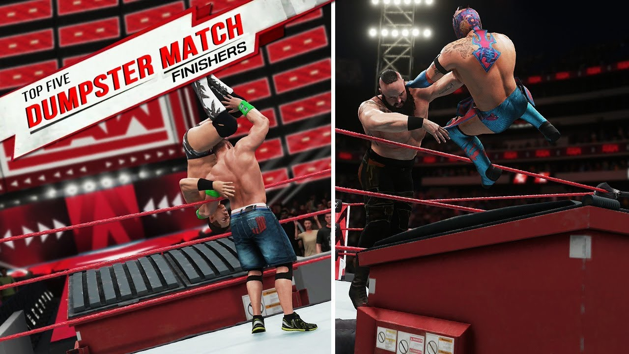 WWE 2K18: Top Five Dumpster Match Finishers (Concept) - YouTube