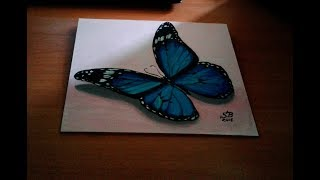 видео: Бабочка 3D. Как нарисовать бабочку.