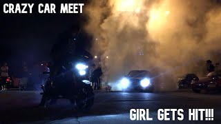 Crazy Long Island car meet (Girl runs into donut pit and gets hit)