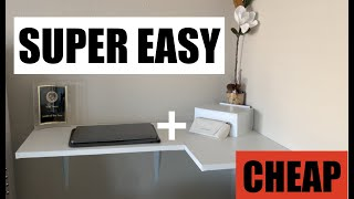 Diy Wall Mounted Floating Desk For Cheap!  $15  | Easy